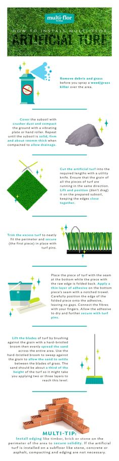 Multi-flor's Artificial Landscaping Grass is suitable for indoor and outdoor areas, including: gardens, balconies, pool side areas and kids' playroom.  Follow these easy installation instructions for beautiful, lasting results. Installation Instructions, Outdoor Areas, Balconies, Playroom, Grass, Landscaping, Gardens, Indoor, Flooring