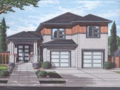 SALE ENDS TONIGHT! This modern house plan features an open floor plan and smart details. Contemporary House Plans, Contemporary Style Homes, Duplex House Plans, Family House Plans, Craftsman Style House Plans, Unique Architecture, New Home Designs, Building Design, House Styles