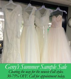 Now is your opportunity to take advantage of our Summer Sale. We are making room for the wonderful Fall designs before we head to the Chicago show. Make your appointment NOW, while the selections are good. Call 615-269-0177 for your personal fitting.