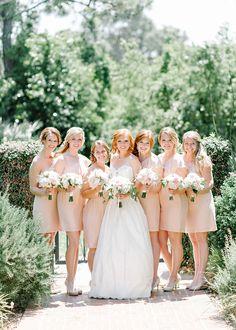 peachy pink bridesmaid dresses | Pasha Belman #wedding