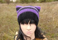 Hot Violet Black Cat Ears Hat Teenager Beanie Knit by MaddaKnits