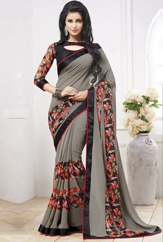 Grey & Black Color Georgette Casual Party Sarees : Anaira Collection YF-32121