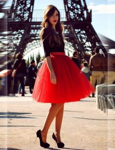 So much fun! Love this skirt. | 30 Red Outfits to wear before you're 30.