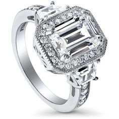 BERRICLE 925 Silver Emerald Cubic Zirconia CZ Halo Engagement Ring... ($60) ❤ liked on Polyvore featuring jewelry, rings, clear, women's accessories, emerald wedding rings, silver wedding rings, cz engagement rings, cubic zirconia rings and emerald rings