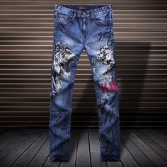 39.99$  Buy here  - Comfortable skin-friendly fashion casual high-quality cotton jeans Personalized beauty and tiger printing boutique jeans men