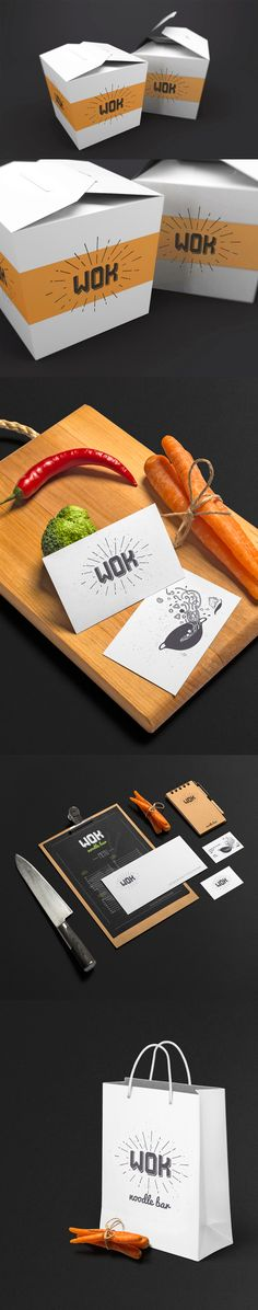 Wok restaurant logo template. Vector illustration on Behance