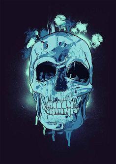 Skull Paint by Robert de Jong, via Behance Skull Artwork, Skull Painting, Crane, Skeleton Art, Skull Wallpaper, Skull Island, Macabre Art, Skull And Bones, Graphic Design Illustration