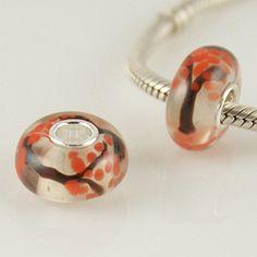 1 Bead - Autumn Tree Leaf Orange Sterling Silver Core .925 Lampwork European Bead Charm GJ1630 LC0050