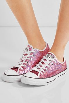 Converse - Chuck Taylor All Star Sequined Sneakers - Pink - UK8.5