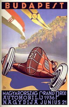 Grand Prix 1936 Budapest Hungary Vintage Poster Print Art Deco Look Car Racing Art Deco Posters, Car Posters, Travel Posters, Vintage Posters, Vintage Art, Unique Vintage, Retro Posters, Retro Ads, Vintage Travel