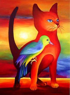 tomcat - Schilderij,  30x40 cm ©2010 door Tetiana Gorbachenko -                            Art Nouveau, kunst