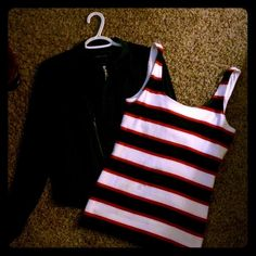 Very Cute Navy jacket w/navy,red, and white tank! Jacket is very light weight has pockets and tank top is very comfy!! Doesn't for so only bought and tried on. Jacket is a large and tank a medium. Banana republic brand for tank and BCBG for jacket Banana Republic Tops Tank Tops