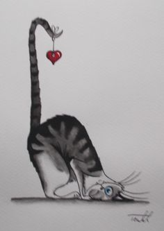 Aquarelle-034-Le-chat-coeur-034