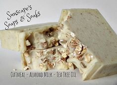 Oatmeal Almond Milk and Tea Tree Oil  by SunscapesSoapsnSoaks on Etsy $4.55 A combination of Colloidal Oatmeal, Almond Milk & Tea Tree essential oil.