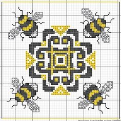 Cross-stitch Bees..... no color chart available, just use the pattern as your color guide. biscornu chart