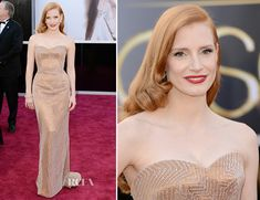 Jessica Chastain in Armani Prive. Simply amazing! I think the red lip brought it all together...
