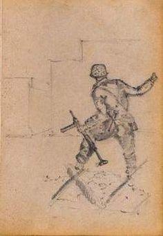 Tekening van een majoor die hij maakte tijdens de strijd om de Arnhemse verkeersbrug.