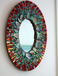 Bringing back a classic #mosaic mirror by Ariel.  Commissioned piece.  Inquiries always welcome.  http://www.mosaicsbyariel.com