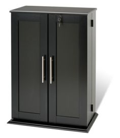 Locking Media Storage Cabinet With Shaker Doors Black