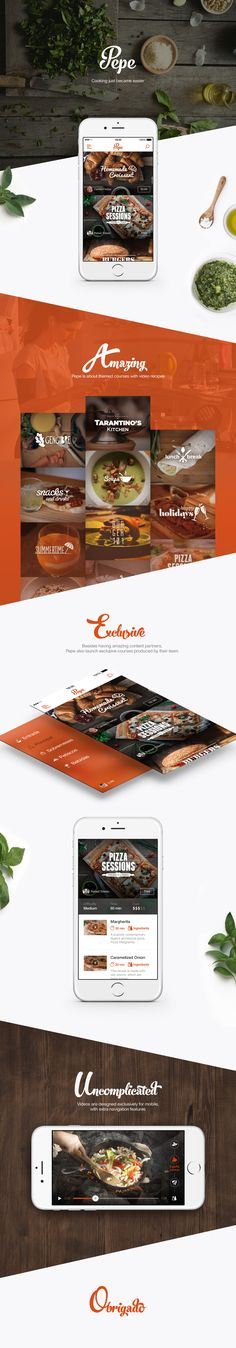 gastronomy, app, mobile, ios, iphone, webdesign, web, course, food video, player, play, delivery, interface, ui, ux, layout