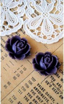 Lot de 2 Fleurs 16 mm couleur violet pour bijoux et scrapbooking