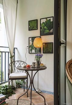 Lovely small balcony with indoor-outdoor feel. | Tiny Homes