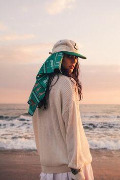 Adrianne Ho. Stussy. Model. Beach. Beauty. Knitwear. Evening. Light. Sun. Summer. Fashion. Street. Style. Women. Cap. Tough.