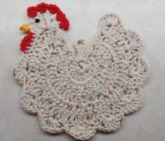 "Chicken Pot Holder tutorial from ""The Crochet Space.""  There is no written pattern for this pot holder.  For a thicker pot holder - put felt between 2 chickens and stitch together."