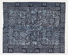 Textile with borders on four sides and a densely patterned field. Two oval medallions with figures of a man and crowned woman, surrounded by figures, animals and plants. On the two long edges, inscriptions reading ANKURIMOGA NNIDUNIAOK, repeated. A border of confronted birds alternating with closely spaced dots. In light blue on a deep blue ground.