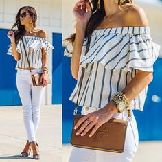 Anyone else find themselves weak when they come across a stripe top? Me too. I've highlighted a bunch of my favorites under $100 over on www.sequinsandthings.com today! [Link in profile] 💙 You can shop 16 of my faves here: http://liketk.it/2oFJS via @liketoknow.it #liketkit #ltkunder100 #stripes #summerstyle #summer #offshouldertop #nordstrom @nordstrom
