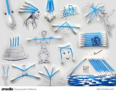 Victor Nunes: An Incredible Man Turns Everyday Objects Into Creative Illustrations Q Tip Art, Pencil Shavings, Object Drawing, Art Object, Art En Ligne, Creative Illustration, 3d Illustrations, Art Graphique, Everyday Objects