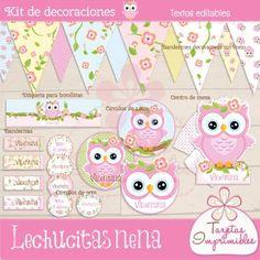 Kit de decoraciones para cumpleaños de niñas para imprimir Lechucitas  - Tarjetas Imprimibles - Candy bar, tarjetas, cajitas, souvenirs...