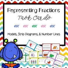 Your students will love these fraction task cards. There are number lines and models. Use the task cards in centers, small group, or as a scoot game! Students can work independently or with partners to solve the problems. There are 20 Task Cards. Teaching Fractions, Teaching Math, Maths, Elementary Teacher, Elementary Schools, Strip Diagram, Teaching Place Values, Number Lines, Math Workshop