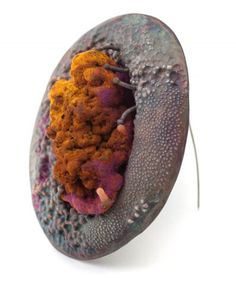 Lockyeon Kim - GR Brooch 3  copper, etching byproduct, resin, pigment