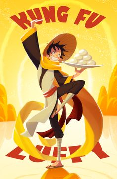 kung-fu by Quere on Grafolio Kung Fu, Crossover, Mugiwara No Luffy, Blue Springs Ride, The Pirate King, 0ne Piece, Monkey D Luffy, One Piece Anime, I Wallpaper