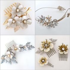 Several of our many Bohemian Chic bridal hair combs & adornments @perfect details.com