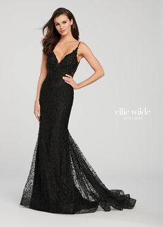 01a9e5bee9f Fit   Flare Embroidered Lace Prom Dress- EW119173