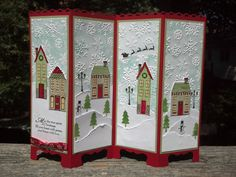 Stampin' Up Holiday Home stamp set and die, Screen Divider Christmas Greeting Card ... adorable winter scene ...