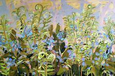 Ferns and Bluebells original botanical abstract por prattcreekart