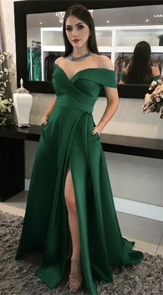 Long Green Satin Off Shoulder Prom Dresses With Pockets