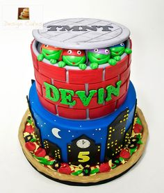 "Christine on Instagram: ""Ninja turtle #tmnt birthday cake! #ninjaturtlecake #Birthdaycake #designcakes #designcake #designcakes3 #NJ #njcakes #nyc #nyccakes"" Ninja Turtle Birthday Cake, 4th Birthday, Ninja Turtles, Tmnt, Birthdays, Cakes, Desserts, Food, Anniversaries"