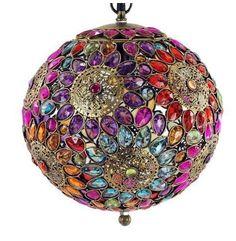 Lámpara de techo con cristales tipo árabe #decoracion #interiorismo #lamparas