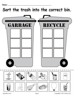 Garbage or Recycle Soda Cup Worksheet