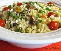 Roasted veggies on orzo