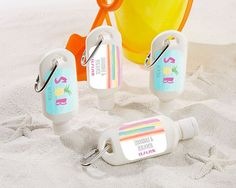 Sunscreen Bottle - Pineapples and Palms. Tropical breezes and endless sunshine - that's what you can look forward to at your Hawaiian inspired wedding or tropical bridal shower! And guests can look forward to a party favor that will help them not only during your big day, but for their own sunny day adventures! Make these sunscreen favors even more special by personalizing with your names, monogram or event date on a decorative sticker. Features and facts:  White, squeeze-bottle...