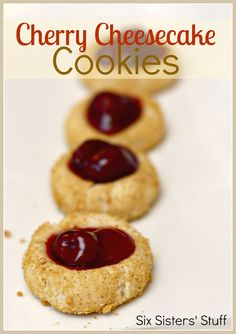 Cherry Cheesecake Cookies- perfect bite-sized cookies for cheesecake lovers! SixSistersStuff.com #cheesecake #dessert