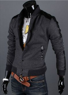 Men's Stand Collar Up Faux Leather Trim Jacket