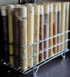 We LOVE this spice organization solution. This could be a really fun DIY project, too!