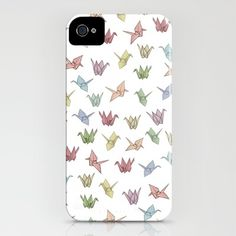 Origami Cranes iPhone Case by Bryony Crane Bird Attack, Iphone 4, Iphone Cases, Smartphone Covers, Paper Birds, Fancy Schmancy, Pretty Packaging, Something To Do, Geek Stuff