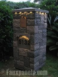 fieldstone ,mailbox - Google Search, faux stacked stone with ligthing, copper brass mailbox insert
